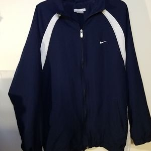 Nike XL Navy and white light lined zip up jacket